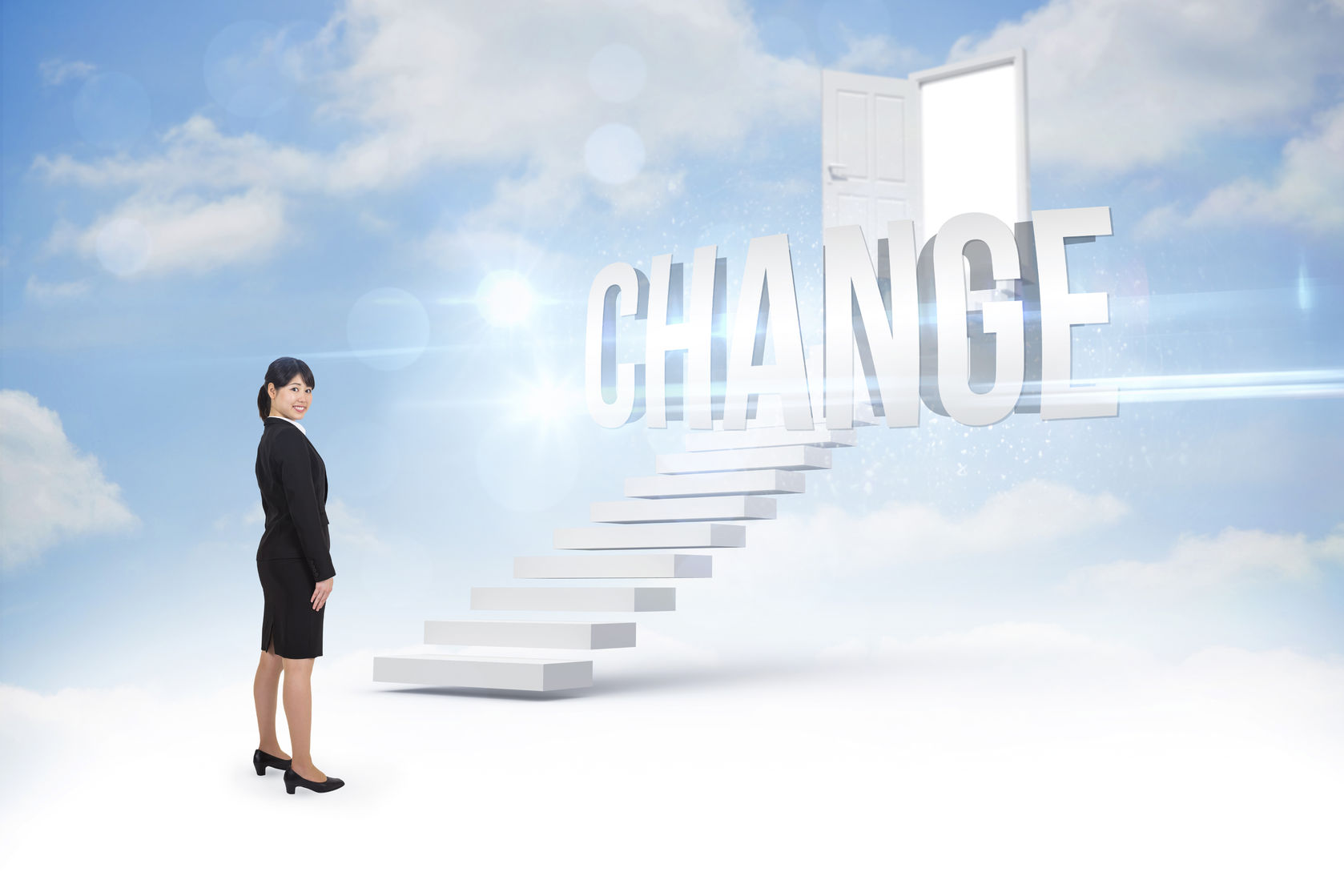businesswoma-stairs-to-change-door