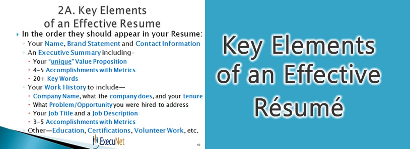 Key Elements of an Effective Résumé