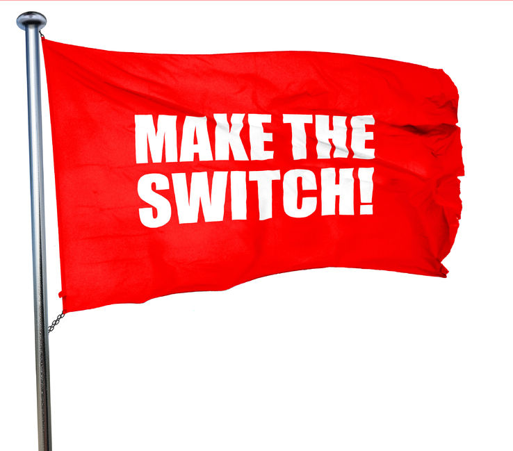 make the switch, 3d rendering, a red waving flag