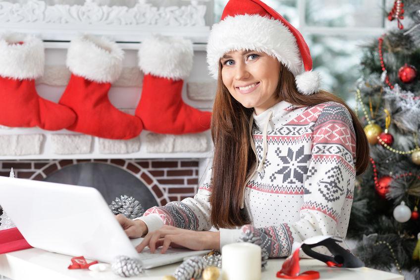 santa-hat-woman-computer